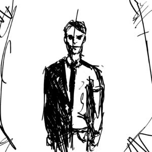 Przedsiębiorca jednoosobowy; czarno-biały szkic