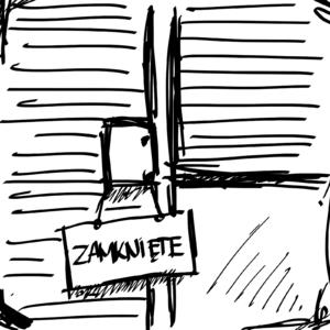 ryzunek zamknięte drzwi COVID19