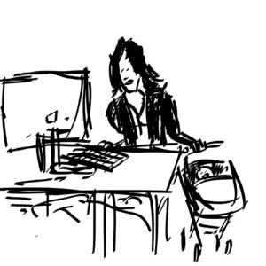pracownik z dzieckiem; czarno biały rysunek