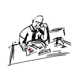 Członek zarządu przy biurku; czarno-biały rysunek