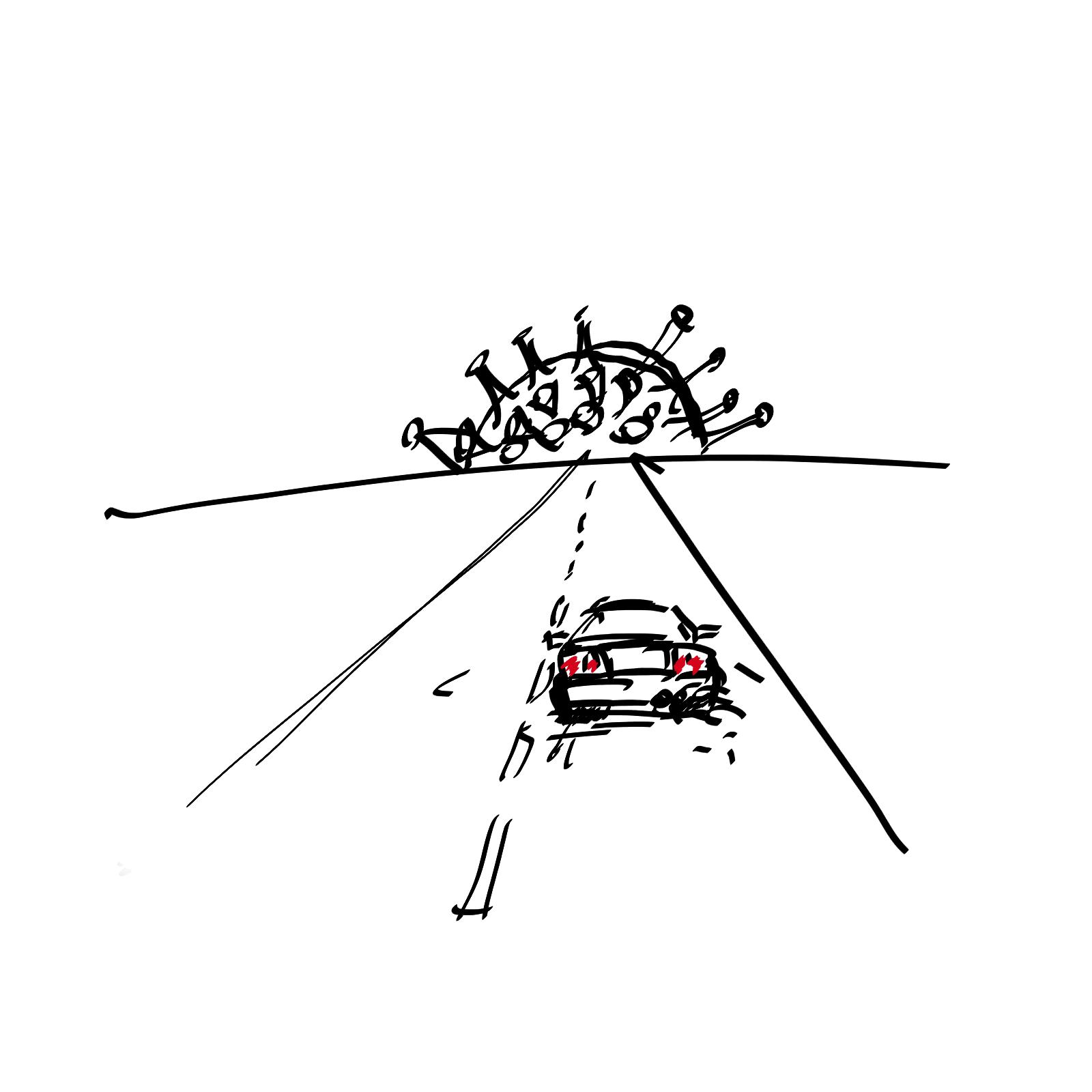 delegacja służbowa; COVID19; samochód na drodze; czarno-biała grafika