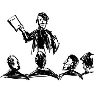 pięć osób; dłużnik i wierzyciele; czarno-biały rysunek