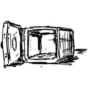 otwarty pusty sejf; czarno-biały rysunek